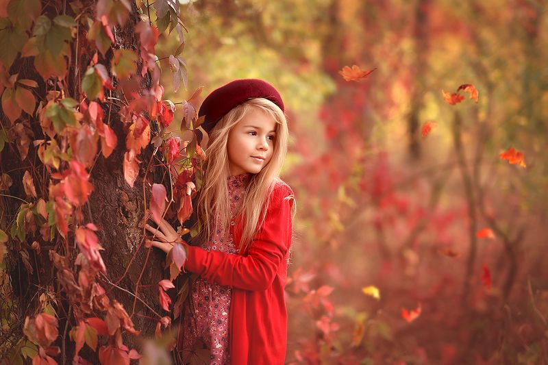 золотая осень, девочка, краски осени, сказка, красота В осеннем лесуphoto preview