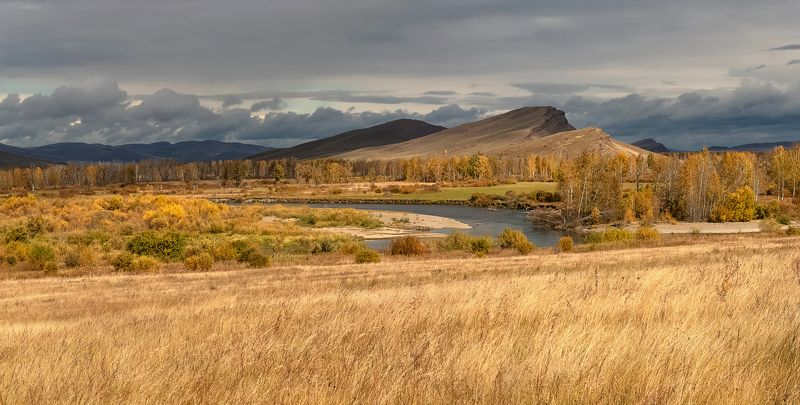 хакасия, сундуки, долина онло., осень. На Сундуках солнечноphoto preview