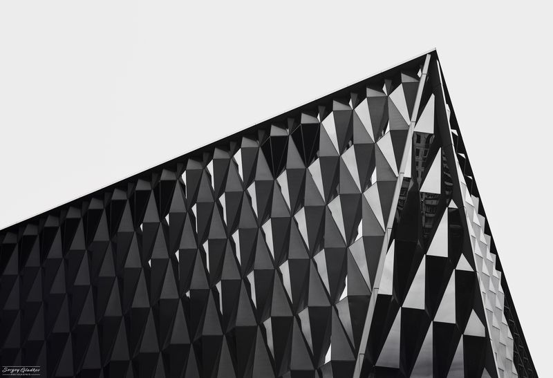 architecture, dark, line, abstarct, city, urban, facade, modern, black, white, Moscow, Russia Черный бриллиант photo preview