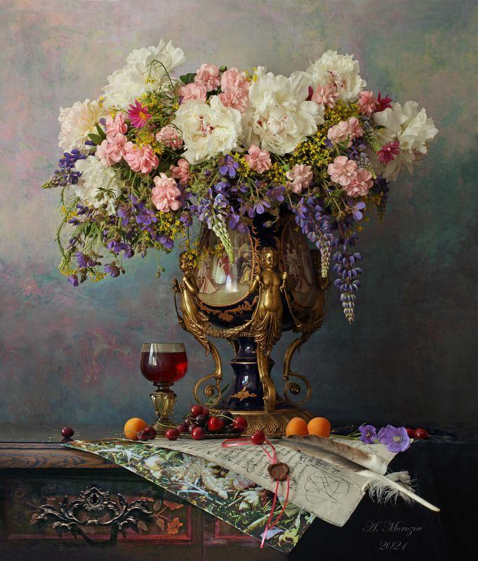цветы, пионы, гвоздики, люпины, фрукты, черешня, абрикосы, ваза, букет Натюрморт с цветами и фруктамиphoto preview