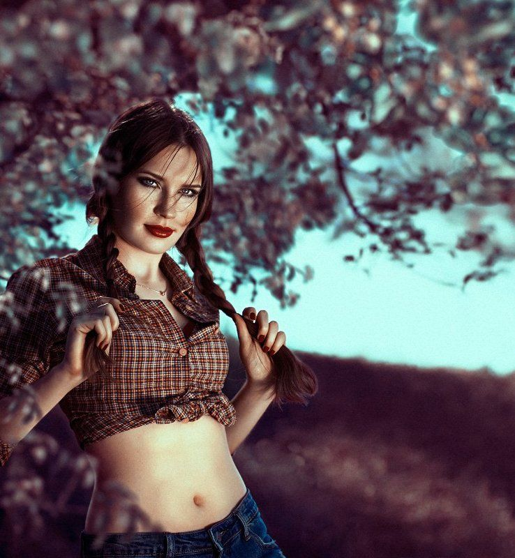 Girl, Grass, Outdoors, People, Portrait, Spring, Sunlight, Trees, Varicolored Сrazy springphoto preview