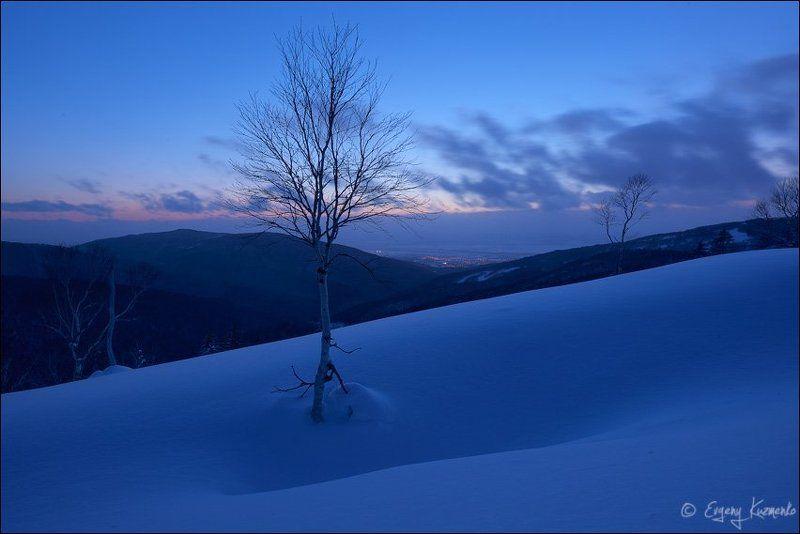 Гора российская, Зима, Сахалин Вечер на Бамбучкахphoto preview