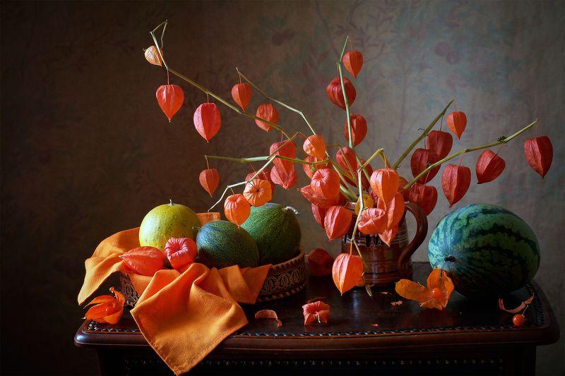 миламиронова, фотонатюрмот, осень, плоды, урожай, физалис, оранжевый, тыква, арбуз С физалисом...photo preview