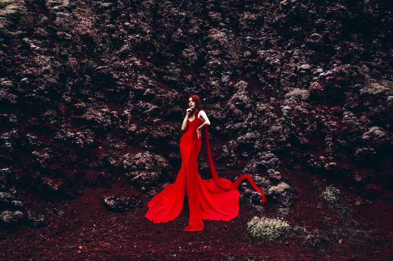 woman, portrait, fashion, beauty, outdoors, travel, iceland The Mistress of the Red Mountainphoto preview