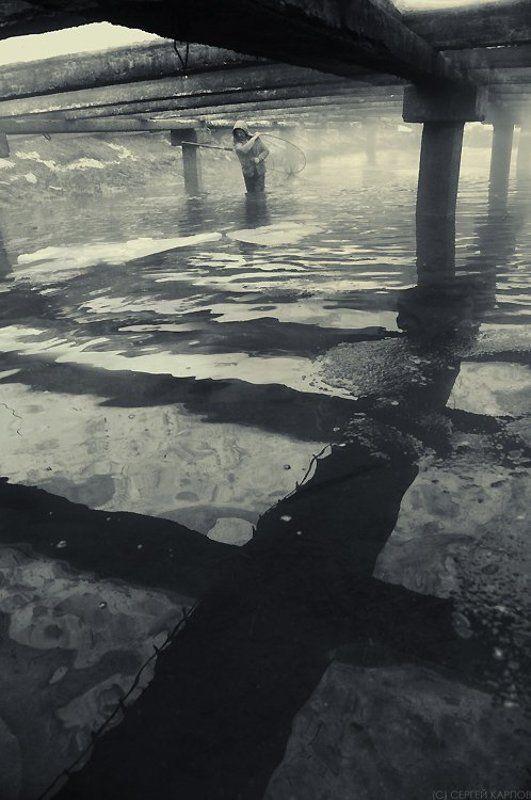 рыбак, крест, тени, вода Рыбацкий крестphoto preview