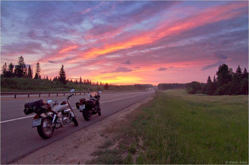 Honda Magna 250, Kawasaki GPZ 1100, Рассвет, Фото на мотоцикле Дорогой в новый день!photo preview