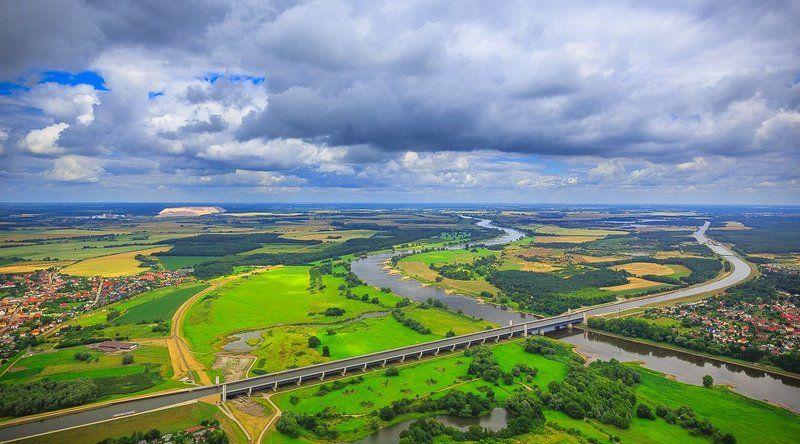 Elbe, Германия, Канал, Перекресток, Река, Эльба над перекрестком речных путей...photo preview