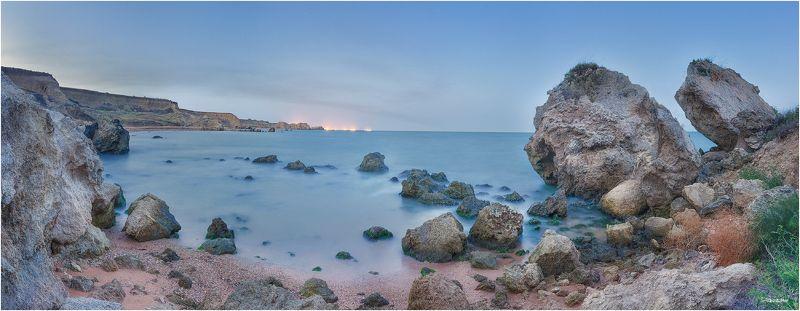 Берег, Закат, Камни, Крым, Панорама, Черное море photo preview