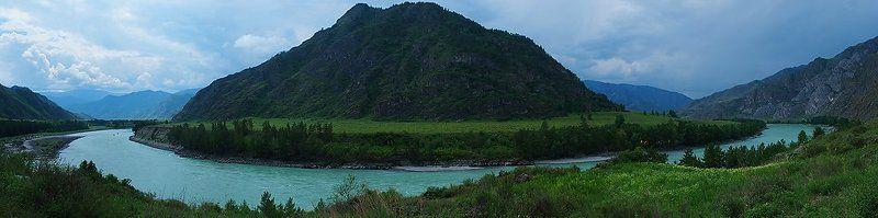 катунь, горный алтай, лето, горы, река, сплав Поворот Катуниphoto preview