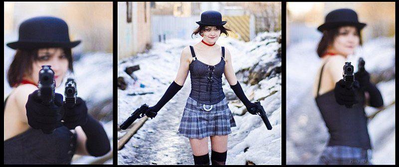 девушка, оружие, снег photo preview