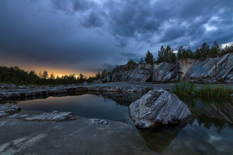 Landscape, Sunrise, Карелия, Пейзаж, Рускеала итальянский карьерphoto preview