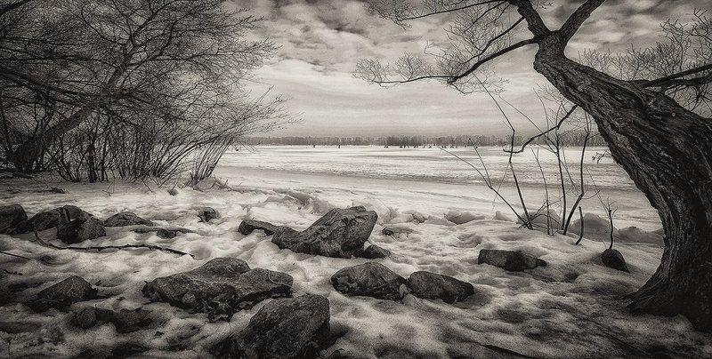 Зима, Оболонь, Рыбалка залив Зимняя рыбалкаphoto preview