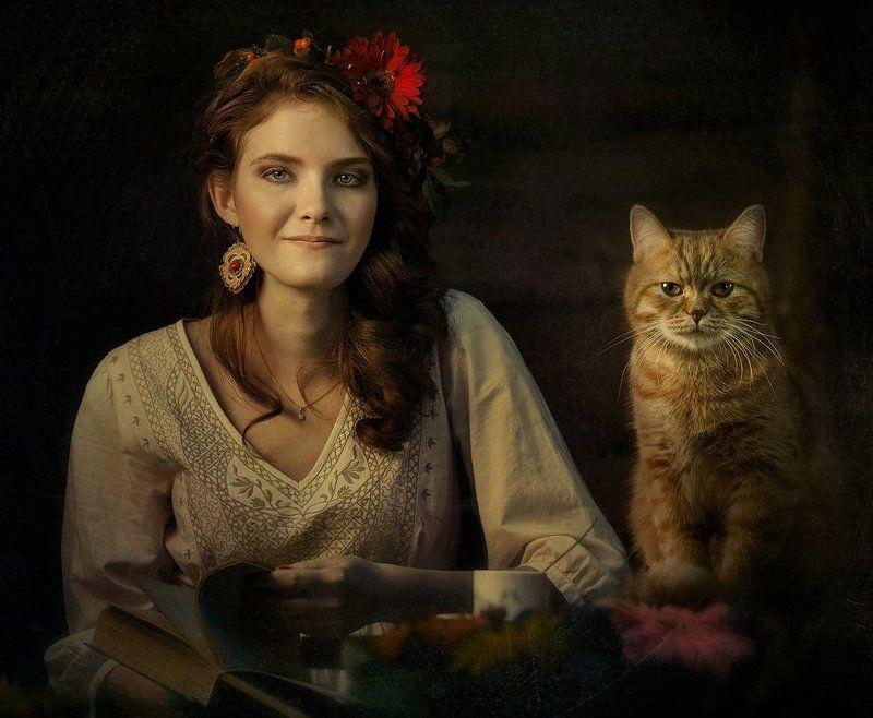 Девушка, Книга, Кот, Рыжий, Цветы ***photo preview