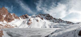 Glacier and lake of Manshuk Mametova.