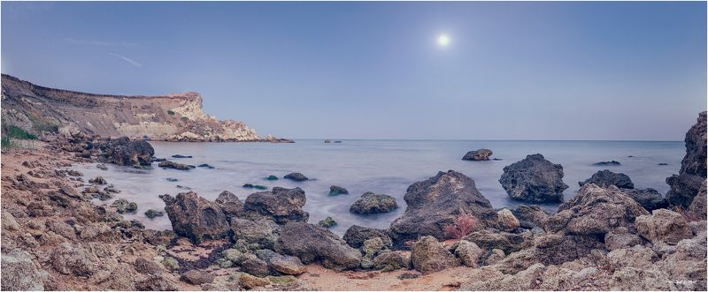 Закат, Камни, Крым, Луна, Панорама, Пляж, Черное море ...Тайник...photo preview