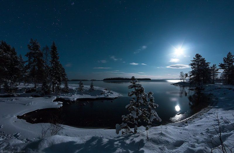 Декабрь, Кольский полуостров Лунной декабрьской ночью.photo preview