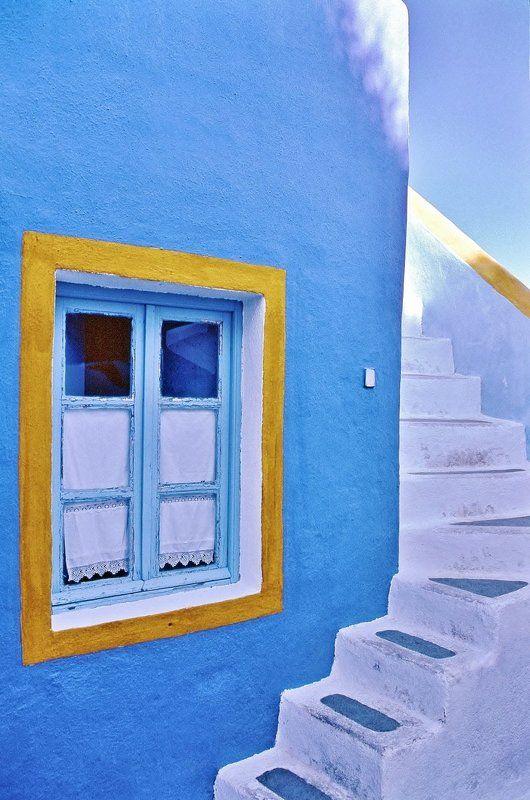 Azzurro, Casa, Finestra, Giallo, Scala Architetturaphoto preview