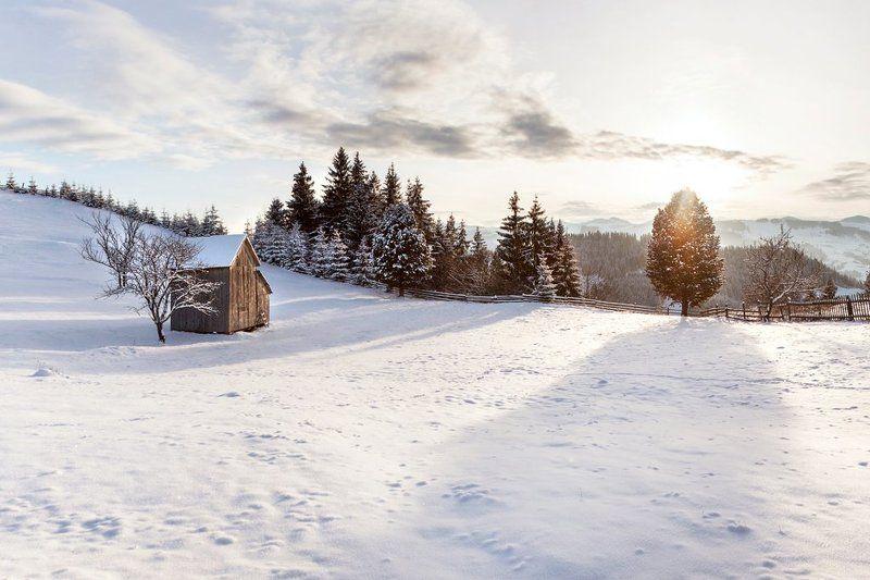 вечер, горы, дерево, закат, карпаты, лес, солнце, тени, украина, хижина Заснеженное полеphoto preview