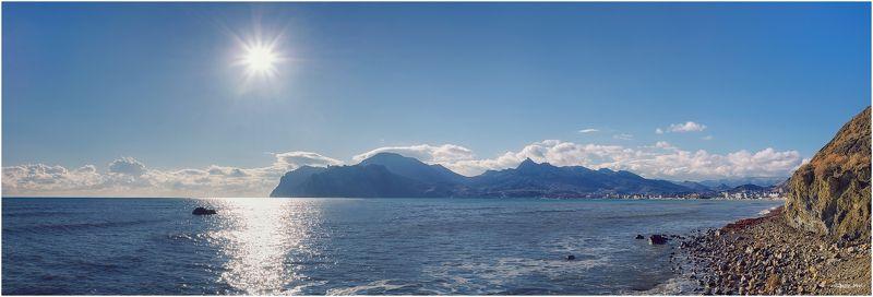 Горы, Кара-даг, Коктебель, Крым, Море, Панорама, Полдень, Черное море ...За два дня до крымской зимы...photo preview