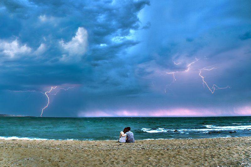 Австралия, Вечер, Жанр, Любовь, Молния, Море, Пляж, Романтика Романтический вечер.photo preview