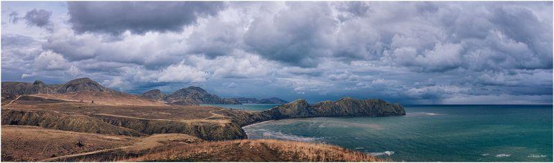 Горы, Гроза, Коктебель, Крым, Море, Мыс, Панорама, Тучи, Черное море ...Хамелеон...photo preview