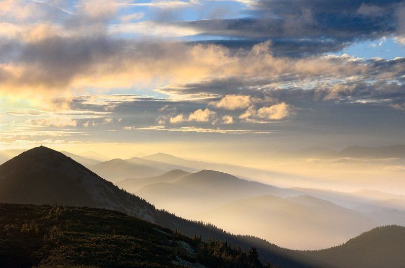 Clouds, Forest, Karpaty, Mountains, Sunrise, Горы, Карпаты, Лес, Облака, Рассвет photo preview
