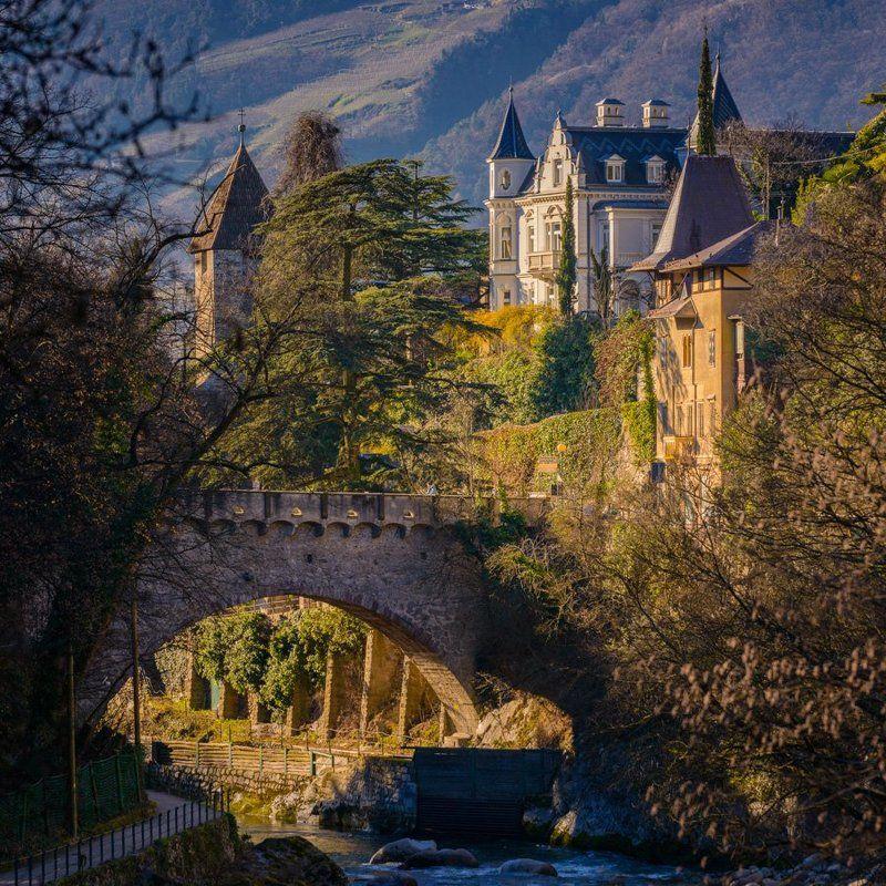 Bridge, Альпы, Город, Замок, Италия, Мерано, Мост, Старый город, Тироль, Южный тироль Мост и старый замокphoto preview