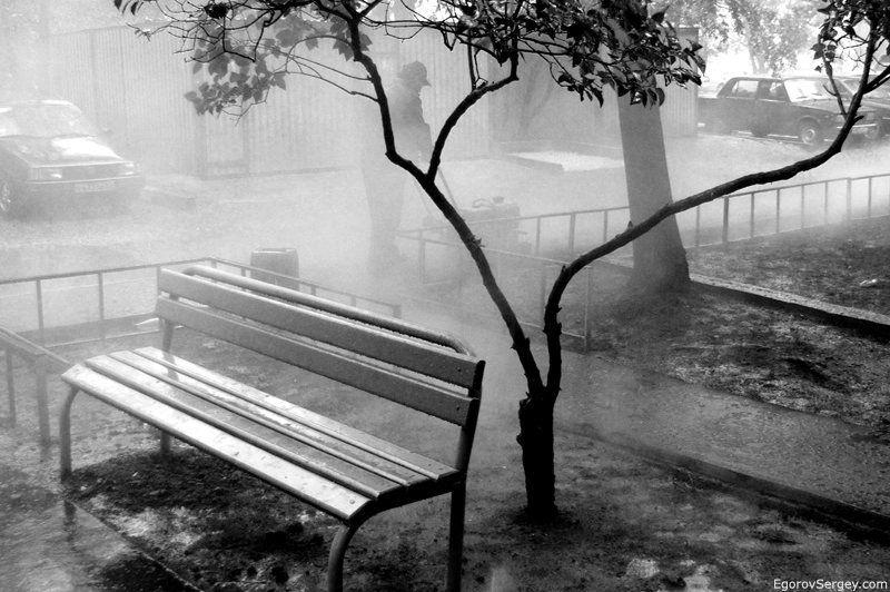 дождь, скамейка, цифра photo preview