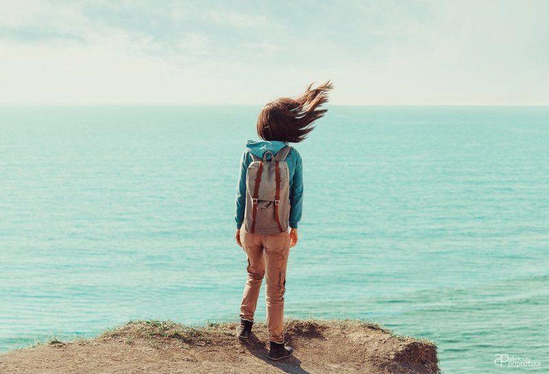 море, девушка, ветер *photo preview