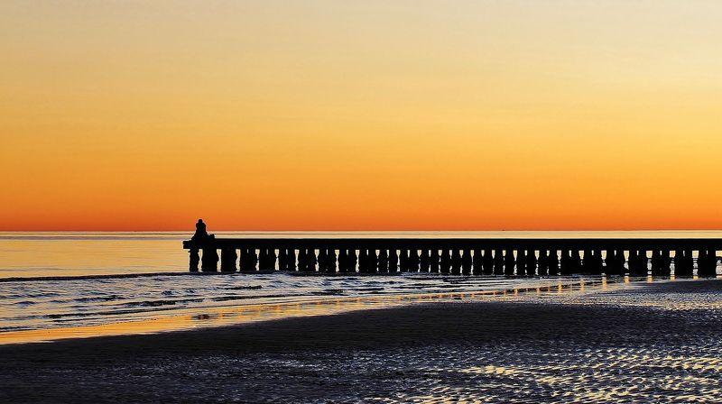 pontile,mare,sabbia,acqua,paesaggio,giallo Tramontophoto preview