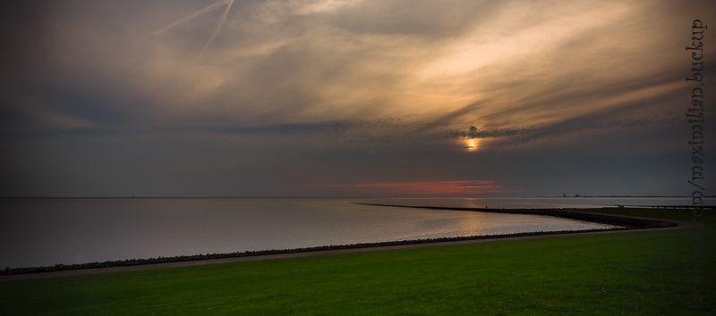 закат, бухта, море, Sonnenuntergang in Meldorfer Buchtphoto preview