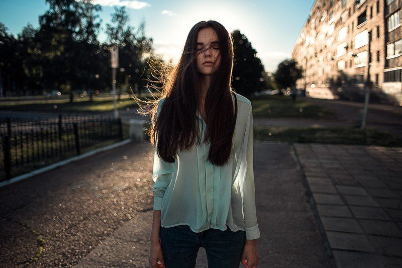 девушка, город, закат, небо, пух, sunset, sun, girl закатphoto preview