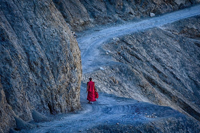 buddhism, road, Dhankar, Tibet, Spiti valley, India A journey of a thousand miles begins with a single step photo preview