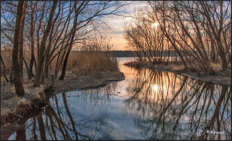 река,днепр,заводь,закат,вечер,март Месяц мартphoto preview