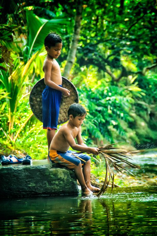 children Playing on the riverphoto preview