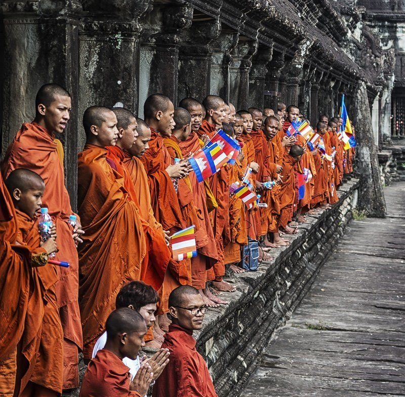 cambodia angkor travel monks buddhist  Contrast photo preview
