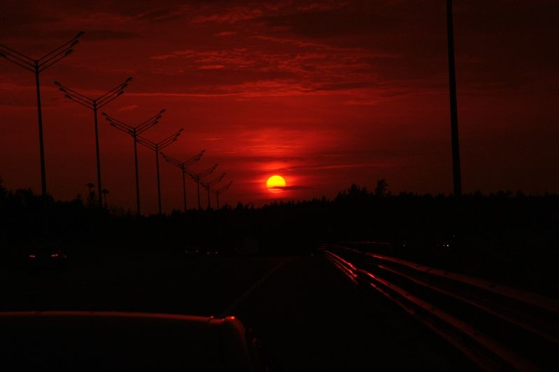 закат, город, дорога, трасса, столбы, вечер Закат по пути...photo preview