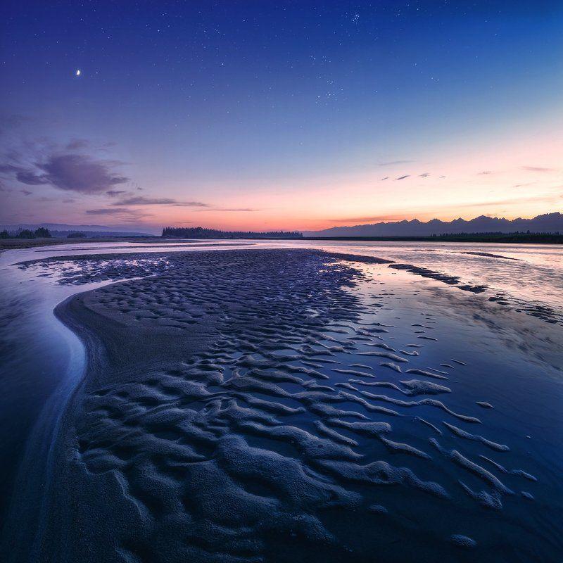 синий, пейзаж, закат, иркут, песок, звезды, облака, река Тункинский закатphoto preview