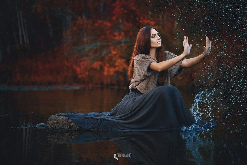 hair, girl, woman, model, view, profile, magic, soul, truth, curls, bright, poster, design, youth, river, autumn, water, witch, beautiful Мы сильнее, чем кажемсяphoto preview
