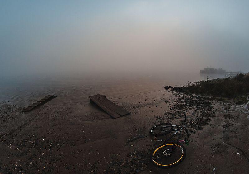 Велосипед, Пейзаж, Река, Туман, Утро Утромphoto preview