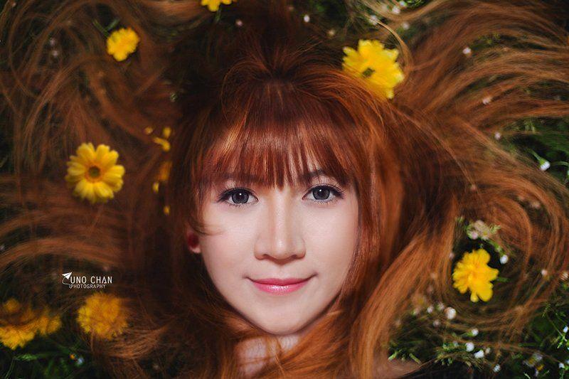 unochan, vuonghongchan, girl, beautiful girl, flower flower facephoto preview