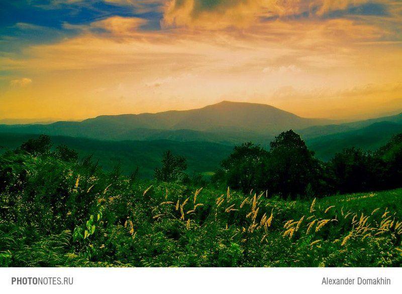 пейзаж, горы, кубань, кавказ, путешествия, лето, закат, вечер, photonotes.ru Вечерняя дрёмаphoto preview
