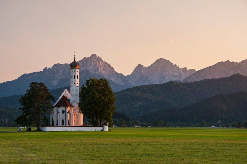 церковь, храм, горы, Альпы, Германия, закат, рассвет, путешествие Вечерне-утренняяphoto preview