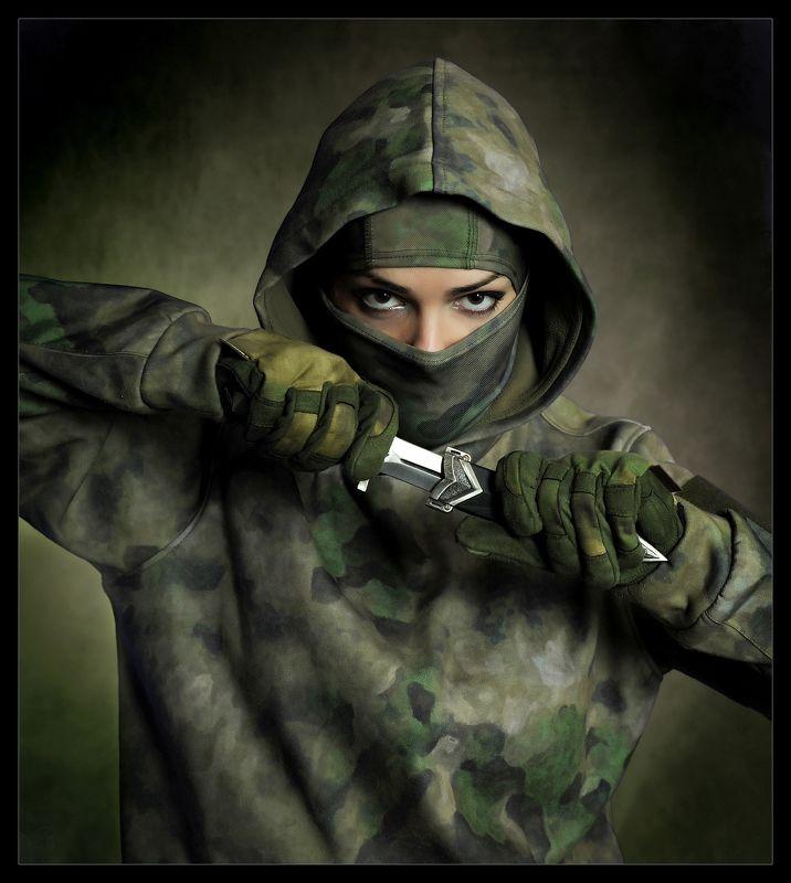 девушка, нож, ниндзя, взгляд, глаза \