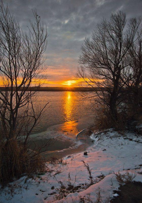 Озеро, Рассвет, Снег Первые лучи_3photo preview