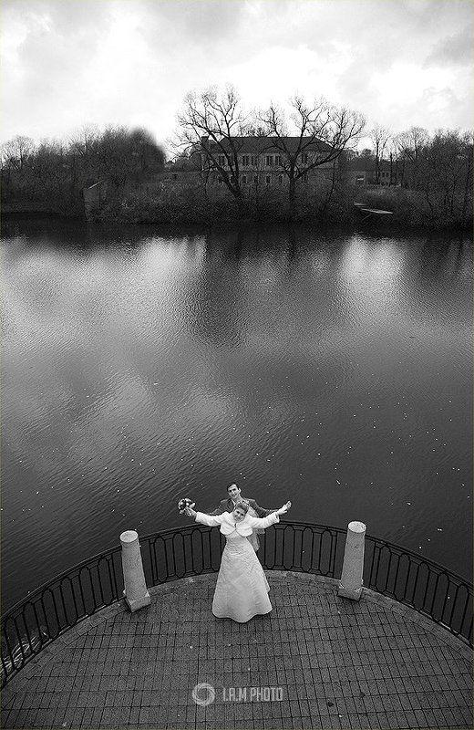 свадьба, пара, женитьба, вода, небо ..photo preview