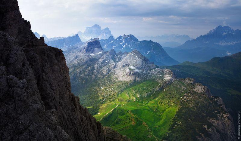доломиты, альпы, италия, горы, луг, луга, небо Доломиты лугами покрытыphoto preview