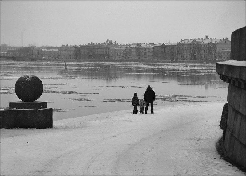 зима, декабрь, санкт-петербург, стрелка васильевского острова, город, дети с детстваphoto preview
