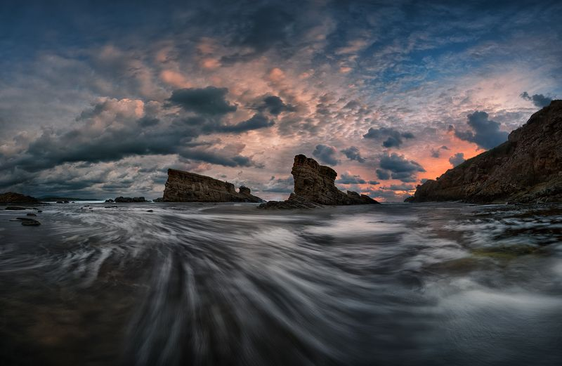 sea, rocks, landscape, storm, sky, bulgaria, two ships Two ships: Stormyphoto preview