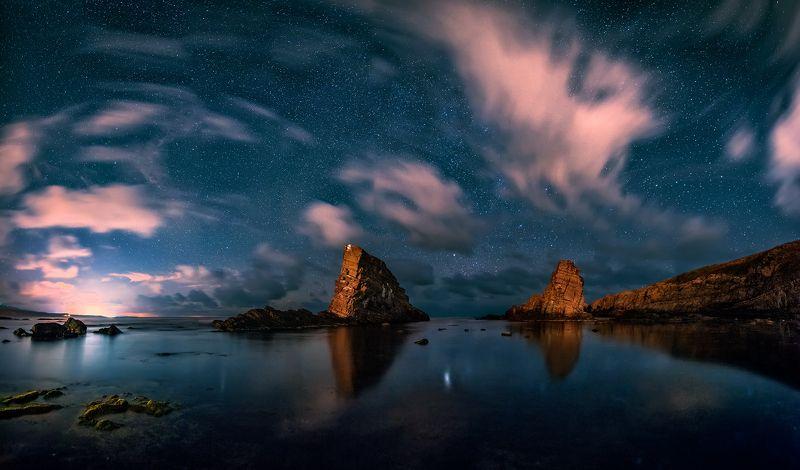 sea, rocks, landscape, night, stars, bulgaria, two ships Two ships: Nightphoto preview